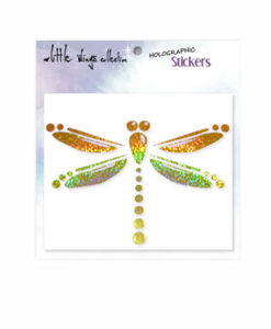 Dragonfly Gold Holographic Stickers