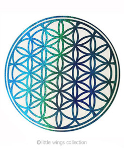 Flower of Life Holographic Stickers - Blue