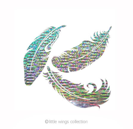 Feathers Silver Holographic Stickers