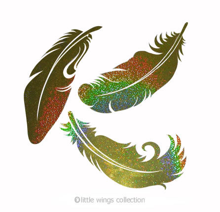Feathers Gold Holographic Stickers