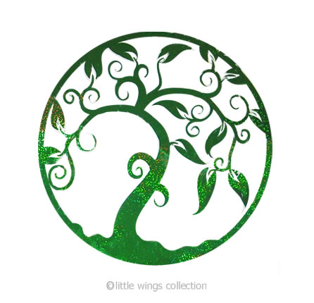 Tree of Life Green Holographic Stickers