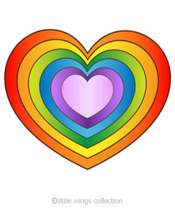 Rainbow Heart Transparent Stickers