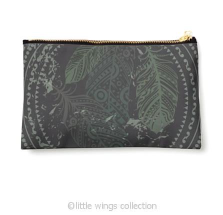 Pouch Feathers Green Little Wings Collection